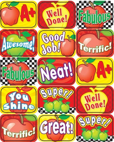 Apples Motivational Jumbo Stickers - 90 Stickers - Tcr4336