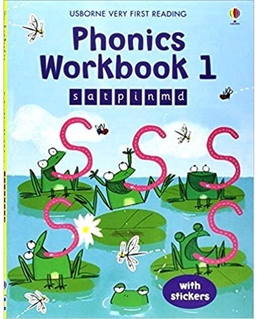 Phonics Workbook 1 - Usborne Very First Reading - Book With Stickers
