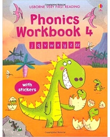 Phonics Workbook 4 - Usborne Very First Reading - Book With Stickers