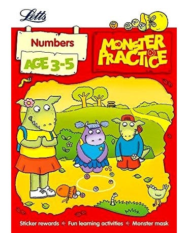 Monster Practice - Numbers - Age 3-5 - Book With Sticker